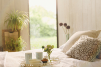 Breakfast tray with flower on bed in tranquil bedroom