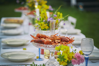 Crayfish in glass bowl on elegant garden party table