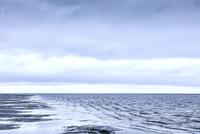 Rippling ocean surf under overcast sky