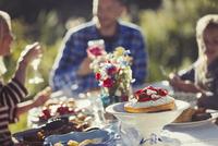 Family enjoying strawberry cake at sunny garden party patio table