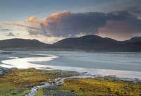 Clouds over tranquil mountains and ocean, Luskentyre Beach, Harris, Outer Hebrides