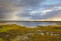 Tranquil scene clouds over lake, Loch Euphoirt, North Uist, Outer Hebrides