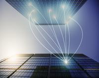 Fiber optic light trail communication connecting highrise buildings, concept 11086035459| 写真素材・ストックフォト・画像・イラスト素材|アマナイメージズ