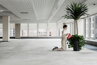 Businesswoman watering plant in empty office space