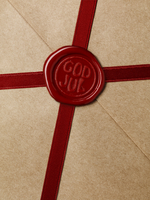 Close up of wax seal on package