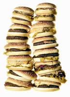 Stack of hamburgers, studio shot