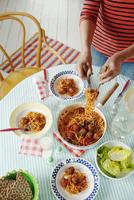 Sweden, Spaghetti with homemade meatballs in tomato sauce 11090004865| 写真素材・ストックフォト・画像・イラスト素材|アマナイメージズ