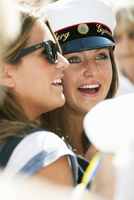 Sweden, Stockholm, Ostermalm, Happy female students at graduation