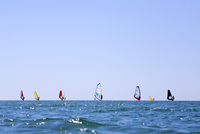 Sweden, Halland, Varberg, People windsurfing