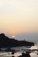 India, Goa, Silhouette of tourists on beach at sunset