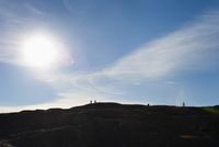 Sweden, Bohuslan, Silhouette of hikers on hill