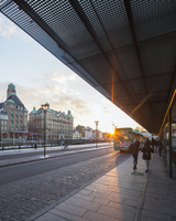Sweden, Skane, Malmo, View of bus stop