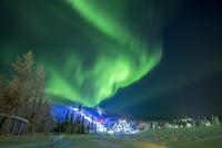 Finland, Lapland, Kittila, Levi, Aurora borealis over land