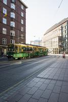Finland, Uusimaa, Helsinki, Kamppi, Tram in street