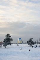 Finland, Usimaa, Helsinki, Kaivopuisto, People on snowy hill