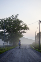 Finland, Lansi Uusimaa, Raasepori, Woman riding horse along misty country road