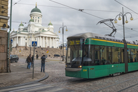 Finland, Helsinki, View of tram and Helsinki Cathedral