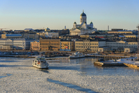 Finland, Helsinki, Cityscape with Helsinki Cathedral
