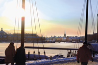 Sweden, Stockholm, Ostermalm, Strandvagen, Waterfront at sunset