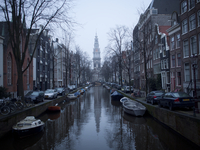 Netherlands, Amsterdam, Town houses, boats and canal