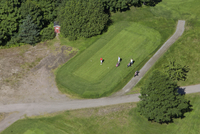 Finland, Uusimaa, Siuntio, Three men playing golf