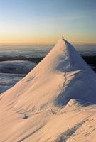 USA, Alaska, Flat Iron, Person on top of snowy Mount McKinley