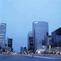 France, Ile-de-France, Paris, La Defense, Downtown district at dusk