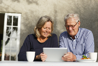 Sweden, Sodermanland, Senior couple doing financial planning using digital tablet at table in backyard
