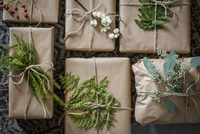Sweden, Wrapped Christmas presents with twigs