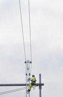 Sweden, Sodermanland, Stockholm, View of power cable worker