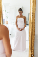 Sweden, Reflection of young bride in mirror