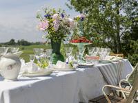 Sweden, Skane, Table prepared for midsummer celebrations