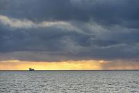 UK, Scotland, North Sea, Large transport ship on full sea