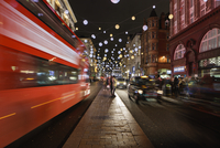 UK, England, London, Oxford Street, Christmas decorations at night