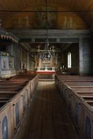 Sweden, Skane, Kulturen Museum, Interior of wooden church