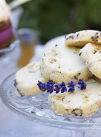 Sweden, Lavender cookies on cake stand