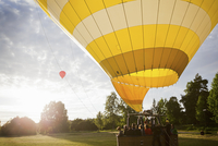 Sweden, Sodermanland, Stockholm, Arsta, Group of people in hot air balloon