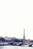 France, Paris, Bridge over Seine river with Eiffel Tower in background