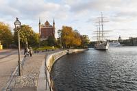 Sweden, Stockholm, Skeppsholmen, Af Chapman ship moored by promenade