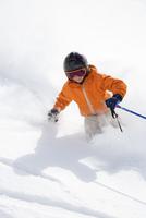 France, Chamonix, Teenage boy (14-15) skiing