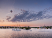 Sweden, Stockholm, Bay, boat and hot air balloon