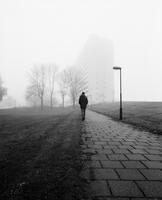 Sweden, Skane, Malmo, Young man taking walk