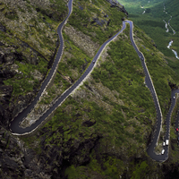 Norway, Trollstigen, Winding road in summer