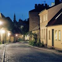 Sweden, Skane, Lund, Street of town at autumn night