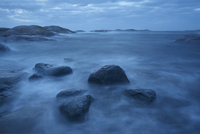 Sweden, West Coast, Bohuslan, Grebbestad, Tjurpannan Nature reserve, Storm over coastline