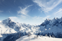 France, Rhone-Alpes, Haute-Savoie, Chamonix, Scenic view of mountains in winter