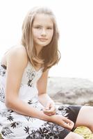 Sweden, Vastmanland, Bergslagen, Hallefors, Nygard, Portrait of girl (10-11) wearing dress