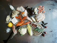 Sweden, Seafood, meat, vegetables and cooking ingredients 11090018283| 写真素材・ストックフォト・画像・イラスト素材|アマナイメージズ