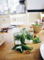 Sweden, Mint tea and leaves on wooden table 11090018284| 写真素材・ストックフォト・画像・イラスト素材|アマナイメージズ