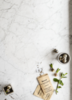 Sweden, Quail eggs, mint and seed packet on marble background 11090018604| 写真素材・ストックフォト・画像・イラスト素材|アマナイメージズ